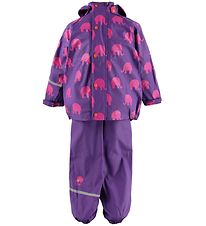 CeLavi Rainwear - PU - Purple w. Fuchsia Elephants