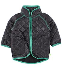 Katvig Thermo Jacket w. Fleece - Charcoal w. Green
