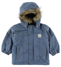 Wheat Winter Coat - Dusty Blue w. Faux Fur