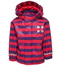 Lego Wear Rain Jacket - Dark Pink/Purple Striped