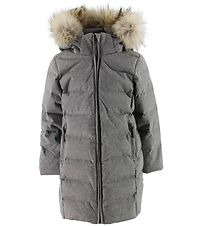 Ver de Terre Down Jacket w. Fur - Grey Melange