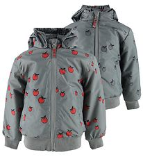 Småfolk Lightweight Jacket - Reversible - Grey w. Apples