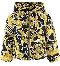 Versace Down Jacket - Black w. Gold Print
