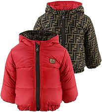 Fendi Padded Jacket - Reversible - Red/Brown w. Allover Logo