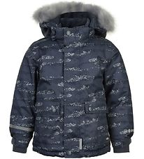 Minymo Winter Coat w. Fleece - Ombre Blue/Print