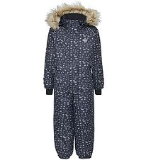 Hummel Snowsuit - Blush - Navy w. Pattern