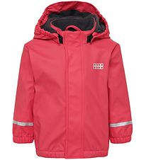 Lego Wear Rain Jacket w. Fleece - PU - Julian - Dark Pink