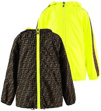 Fendi Jacket - Reversible - Neon Yellow/Brown w. Allover Logo
