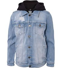 Hound Hooded Denim Jacket - Trashed Light Blue