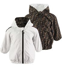 Fendi Jacket - Reversible - White/Brown w. Allover Logo