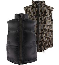 Fendi Down Gilet - Reversible - Black/Brown w. Allover Logo