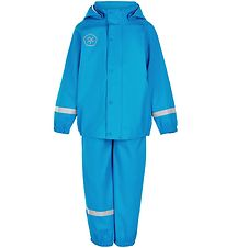 Color Kids Rainwear w. Suspenders - PU - Blue