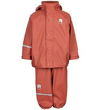 CeLaVi Rainwear w. Suspenders - PU - Redwood