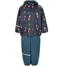 CeLaVi Rainwear w. Fleece - PU - Ice Blue m. Spaceship