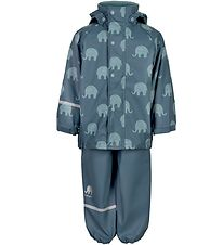 CeLaVi Rainwear w. Suspenders - PU - Ice Blue w. Elephants