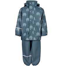 CeLaVi Rainwear - PU - Ice Blue w. Elephants