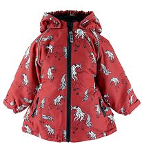 Småfolk Winter Coat - Red w. Unicorns