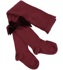 Condor Tights w. Velvet Bow - Bordeaux