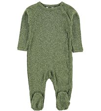 Joha Jumpsuit w. Footies - Melange Green