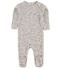 Joha Jumpsuit w. Footies - Melange Grey