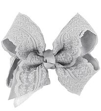 Little Wonders Bow Hair Clip - 9 cm - Grey w. Lace