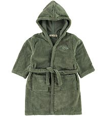Soft Gallery Bathrobe - Oil Green w. Fish