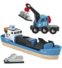 Brio World Freight Ship and Crane - Blue