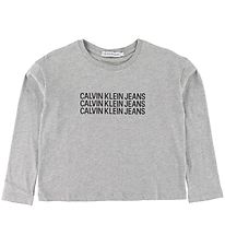 Calvin Klein Long Sleeve Top - Melange Grey w. Print