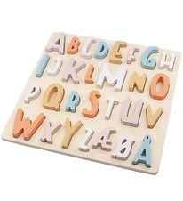Sebra Puzzle In Wood - ABC - Cotton Candy Pink