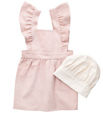 Sebra Apron w. Toque - Rose/White