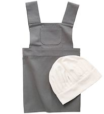 Sebra Apron w. Toque - Grey/White