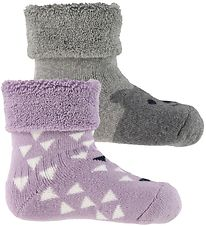 Melton Socks - 2-pack - Grey/Purple