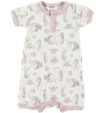 Joha Summer Romper - Wool - Creme/Rose w. Fish