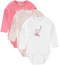 Me Too Bodysuit l/s - 3-pack - Pink/White/Rose w. Stripes
