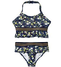The New Bikini - UV50+ - Oliah - Black Iris w. Flowers/Gold