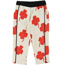 Mini Rodini Sweatpants - Clover - Off-White w. Red/Clover