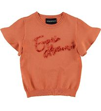 Emporio Armani T-shirt - Knitted - Coral Red w. Sequins