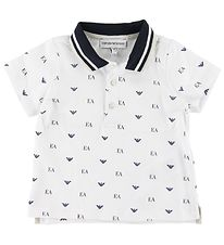 Emporio Armani Polo Shirt - White w. Allover Logo