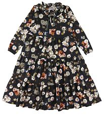 Christina Rohde Dress - Black w. Flowers