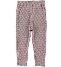 Joha Leggings - Wool - Rose w. Pattern