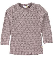 Joha Long Sleeve Top - Wool - Rose w. Pattern