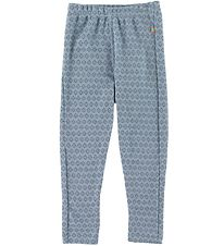 Joha Leggings - Wool - Blue w. Pattern