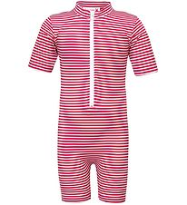 Petit Crabe Coverall Swimsuit S/S - UV50+ - Red/White Striped