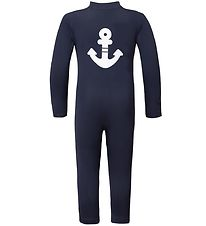 Petit Crabe Coverall Swimsuit - Lou - UV50+ - Navy w. Anchor