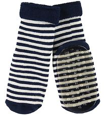 Melton Socks - ABS - White/Navystriped