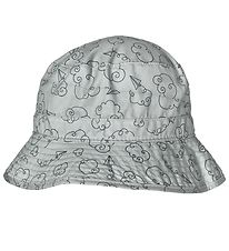 Melton Bucket Hat - UV30 - Light Green w. Clouds/Paper Planes