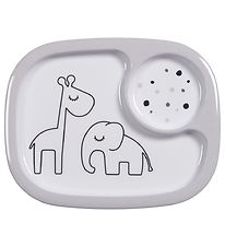 Dony By Deer Plate - 2 Compartments - Dreamy Dots Yummy - Grey