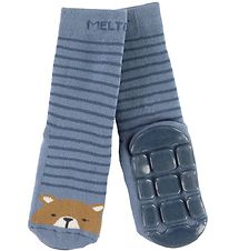 Melton Socks - ABS - Blue w. Bear