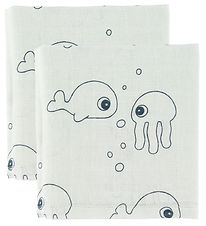 Done By Deer Muslin Cloth - 70x70 - 2-pack - Sea Friends - Blue
