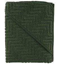 Filibabba Hooded Towel - Zigzag - 90x90 - Dark Green